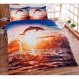 Постельное белье из бамбука с дельфином на фоне морского пейзажа