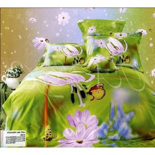 Позитивное постельное зеленой гаммы с цветами