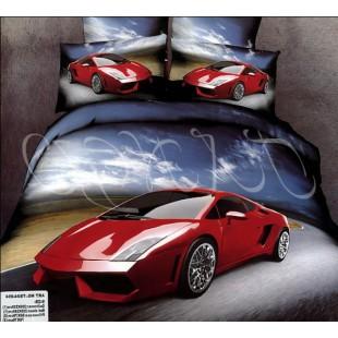 Постельное белье - Красная спортивная машина на дороге