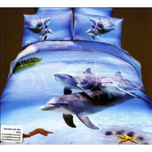 Постельное белье - Семья дельфинов на морской прогулке