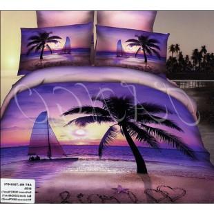 Постельное белье - Сиреневый закат на белом песке с пальмой и яхтой