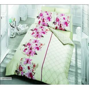 Купить постельное белье из бамбука и сатина с лиловыми цветами