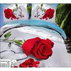 Постельное белье с розой на песке и сердечком