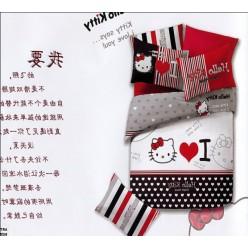 Постельное белье с Hello Kitty красное I love you