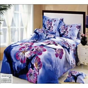 Дымчато-синее постельное белье с сиреневой сакурой 3D