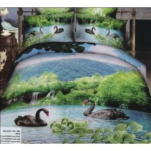 Постельное белье - Черные лебеди в озере на фоне горного пейзажа