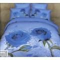 Постельное белье в голубой гамме с синими розами и бутонами