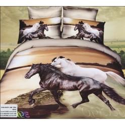 Светло-коричневое постельное белье с белым и черным скакуном