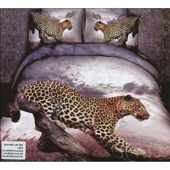 Серое постельное белье с кошкой гепардом