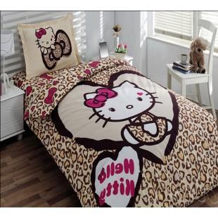 Детское постельное белье – Хэлло Кити леопардовое в бежевой гамме