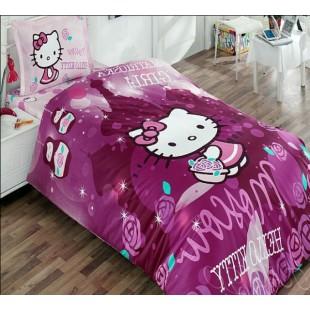 Детское постельное белье фиолетовое Hello Kitty из ранфорса