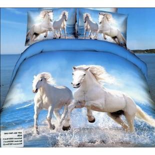Постельное белье – Белые лошади, бегущие по воде