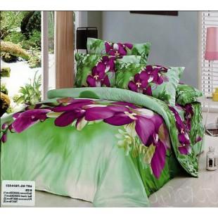 Нежно зеленое постельное белье с фиолетовыми цветами