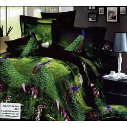 Постельное белье с павлинами на фоне зелени и цветов