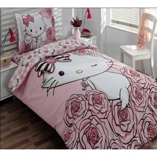 Детское элитное постельное с Хелло Китти в розах
