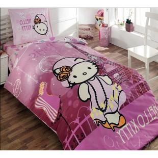 Лиловое постельное белье для девочек с Hello Kitty в Париже
