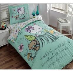 Комплект детского постельного мятного цвета Хеллоу Китти