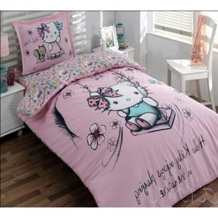 Нежно розовое постельное с Китти на качелях