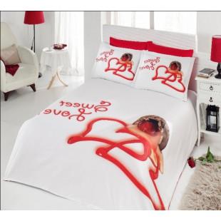 Белое с красным постельное белье для влюбленных с сердцами