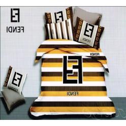 Постельное белье Fendi серое с желто-коричневыми полосками