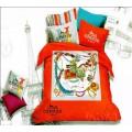 Постельное белье Hermes в оранжевой гамме из сатина