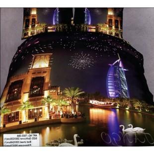Постельное белье - Ночной Дубай с фейерверком сатин