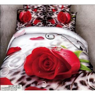Постельное белье с красной розой и кольцом сатин