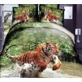 Сатиновый комплект белья с тигром в брызгах воды