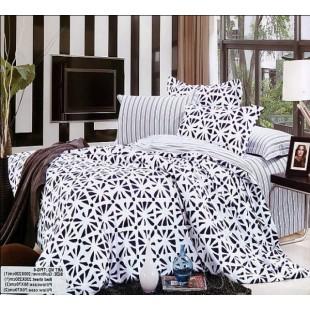 Контрастное черно-белое постельное премиум с полосами и узором