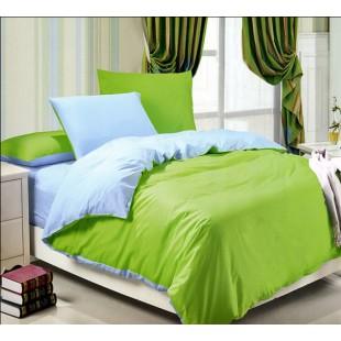 Двухцветное постельное белье сочная зелень с васильковым сатин