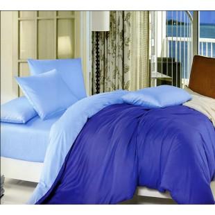 Качественное постельное белье в синей гамме двух тонов
