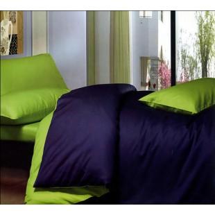 Постельное белье темно-синее с зеленым из сатина двухцветное