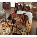 Комплект белья из бамбука с сатином 3D с кошками гепардами