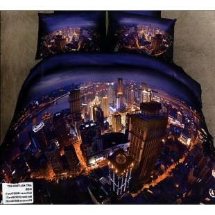 Постельное белье - Ночной мегаполис с 3D эффектом