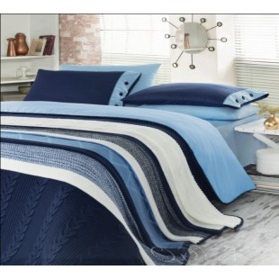 Набор элитного постельного белья с вязаным покрывалом в сине-голубой гамме