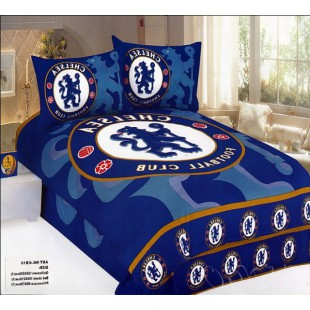 Постельное белье Челси в синем цвете сатин