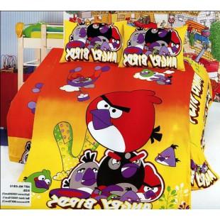 Постельное белье с красной птичкой Angry Birds из сатина в желто-красной гамме