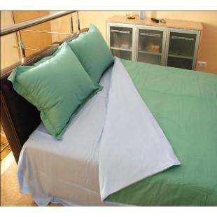 КПБ из двутонного сатина - зеленый с голубым