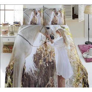 Комплект бамбукового постельного белья с изображением белой лошади и девушки блондинки