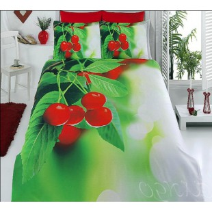 Бамбуковое постельное белье с вишнями с эффектом 3D