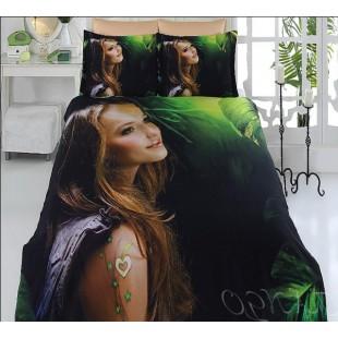 Постельное белье девушка на фоне зелени бамбук