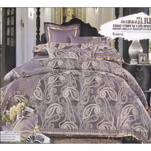 Жаккардовое постельное белье в фиолетовом цвете со светлой вышивкой