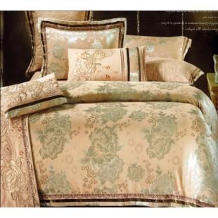 Персиковое жаккардовое постельное белье с вышивкой