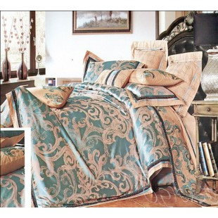 Жаккардовое постельное белье изумрудно-бежевое с вышивкой по краю