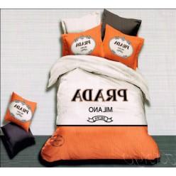 Постельное белье с брендом Prada оранжевое с графитовым