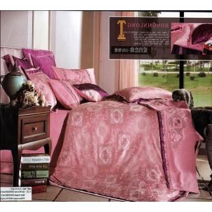 Постельное белье розового цвета с серо-голубыми узорами жаккард