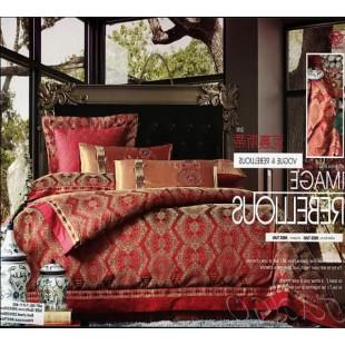 Постельное белье жаккард красно-бордового цвета с золотой вышивкой