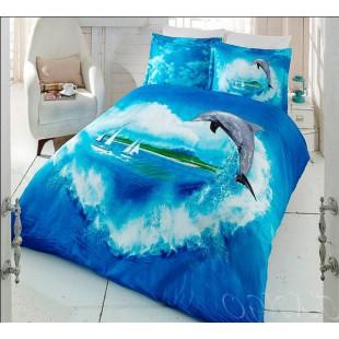 Постельное белье из турецкого бамбука на морскую тему с дельфином