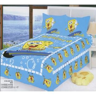 Детское постельное белье со Sponge Bob в голубом цвете сатин