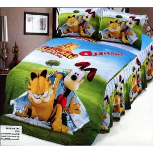 Детское постельное белье Кот Гарфилд на газоне сатин
